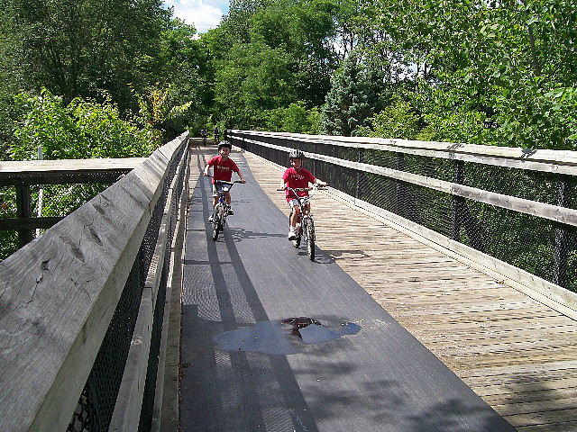 Children Biking on Wooden Bridge