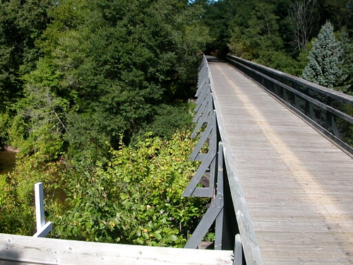 Wooden Bridge Over Creek on the Musketawa Trail
